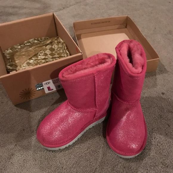 Girls Size 9 Pink Glitter Uggs   Poshmark
